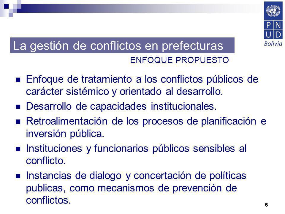 6 Enfoque de tratamiento a los conflictos públicos de carácter sistémico y orientado al desarrollo. Desarrollo de capacidades institucionales. Retroal