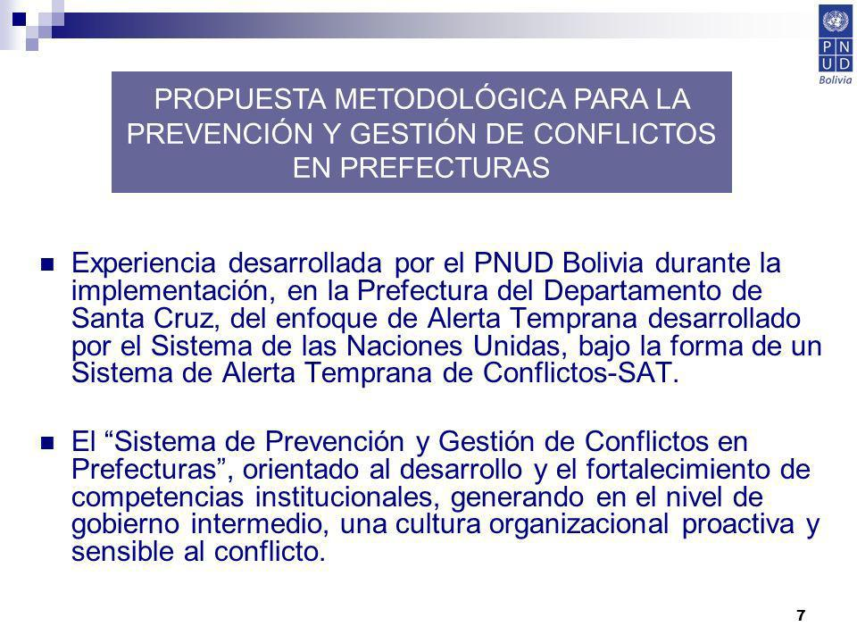 7 PROPUESTA METODOLÓGICA PARA LA PREVENCIÓN Y GESTIÓN DE CONFLICTOS EN PREFECTURAS Experiencia desarrollada por el PNUD Bolivia durante la implementac