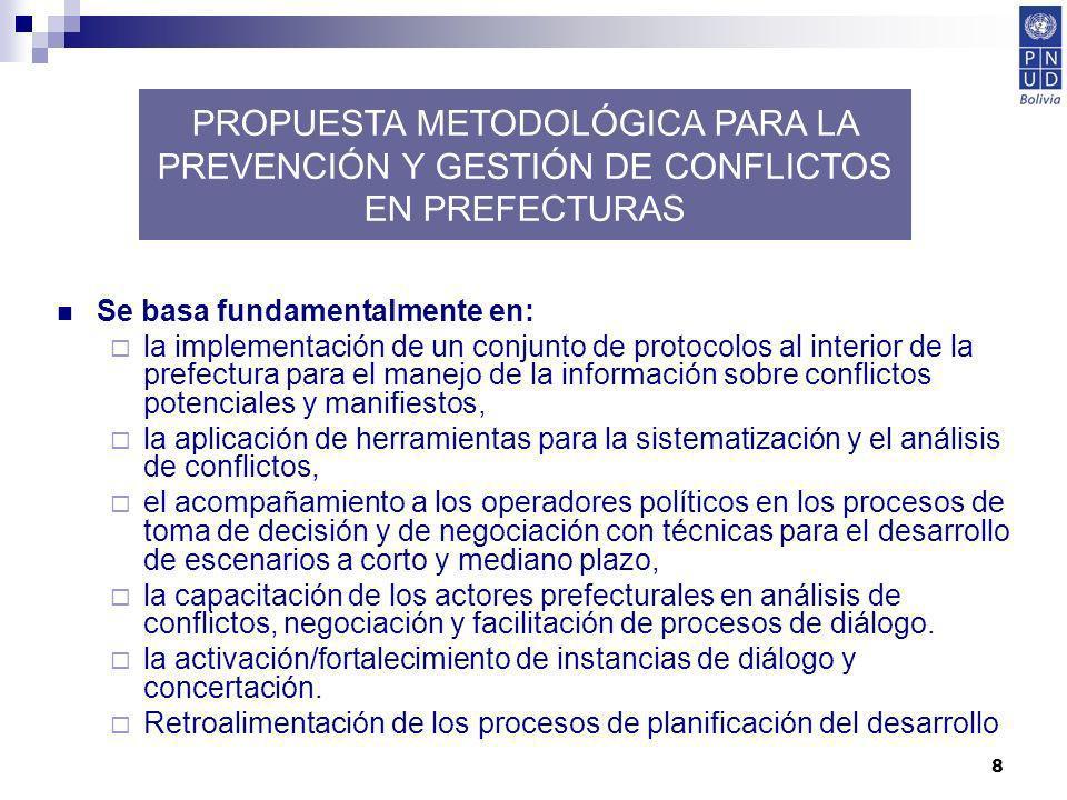 8 Se basa fundamentalmente en: la implementación de un conjunto de protocolos al interior de la prefectura para el manejo de la información sobre conf