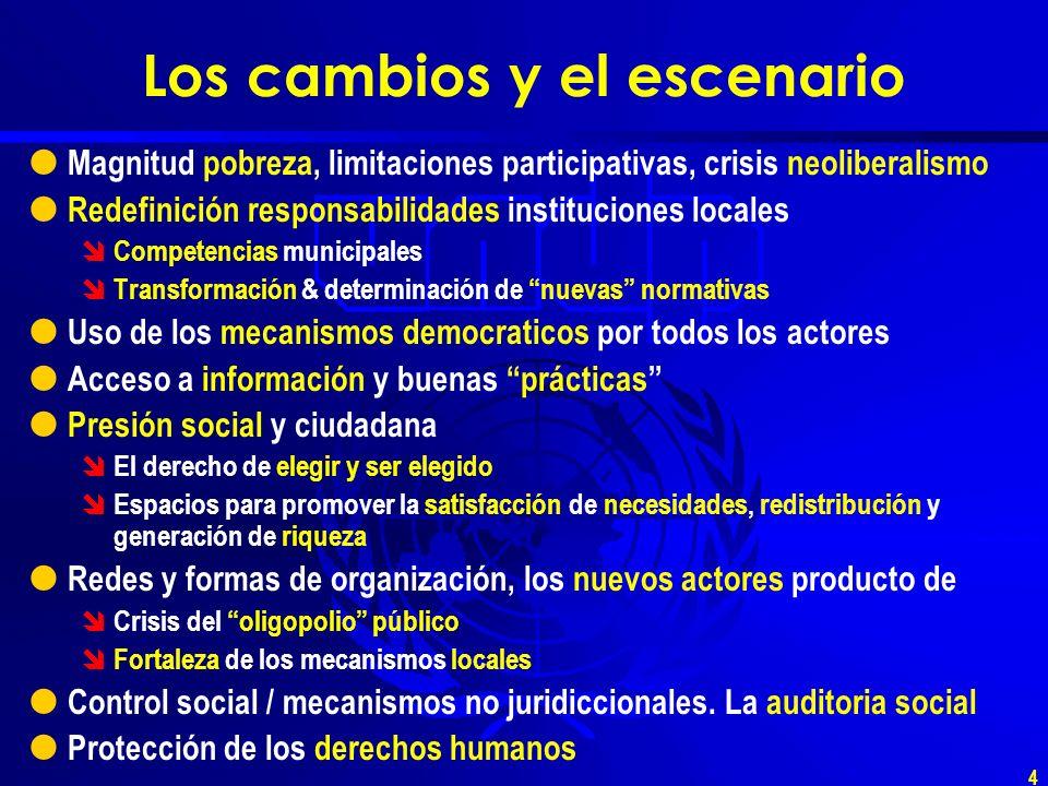 3 Los cambios y el escenario Aspiración y demanda por un mayor desarrollo humano Democratización del poder económico Democratización del poder político Aumento de la deuda social y de la exclusión social Diálogos, acuerdos y pactos políticos.