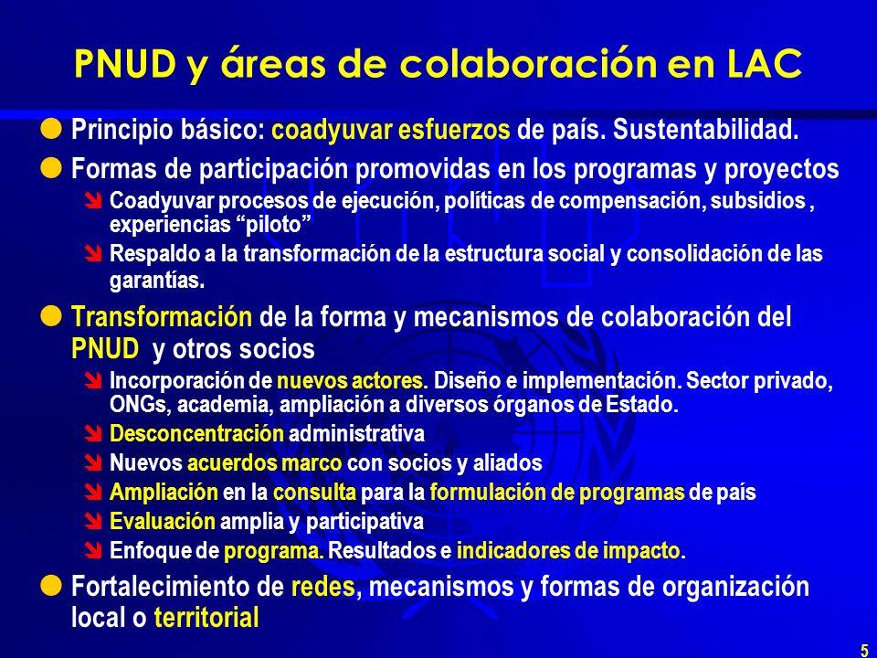 5 PNUD y áreas de colaboración en LAC Principio básico: coadyuvar esfuerzos de país.