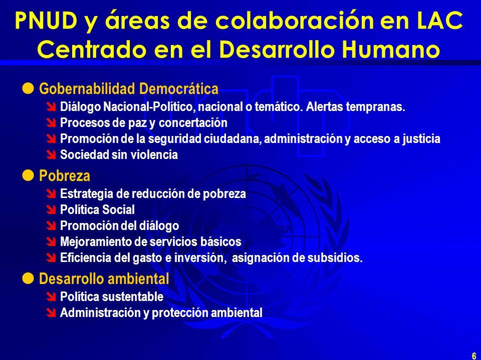 6 PNUD y áreas de colaboración en LAC Centrado en el Desarrollo Humano Gobernabilidad Democrática Diálogo Nacional-Político, nacional o temático.