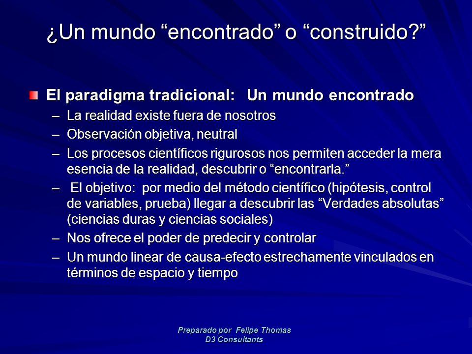 Preparado por Felipe Thomas D3 Consultants ¿Un mundo encontrado o construido.
