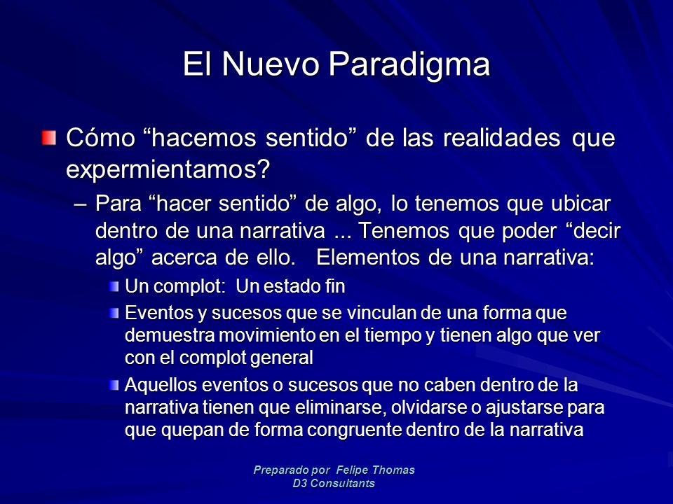 Preparado por Felipe Thomas D3 Consultants El Nuevo Paradigma Cómo hacemos sentido de las realidades que expermientamos.
