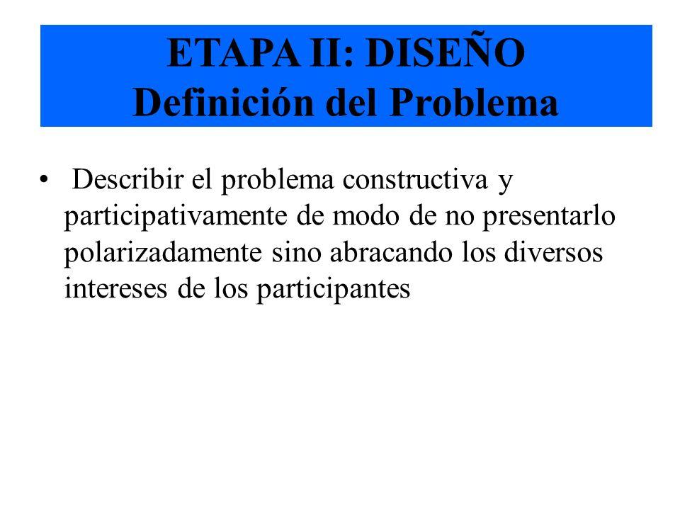 Copyright: Fundación Cambio Democrático - 2001 ETAPA II: Diseño del Proceso a) Estrategia Redefinir constructivamente el problema Identificar las meta