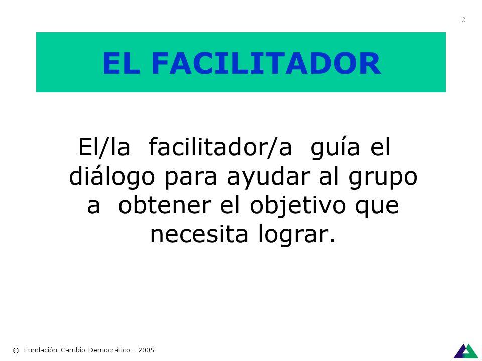 Copyright: Fundación Cambio Democrático - 2001 Facilitar es hacer