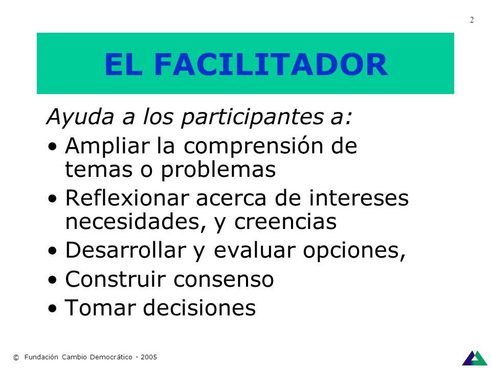 EL FACILITADOR El/la facilitador/a guía el diálogo para ayudar al grupo a obtener el objetivo que necesita lograr. © Fundación Cambio Democrático - 20