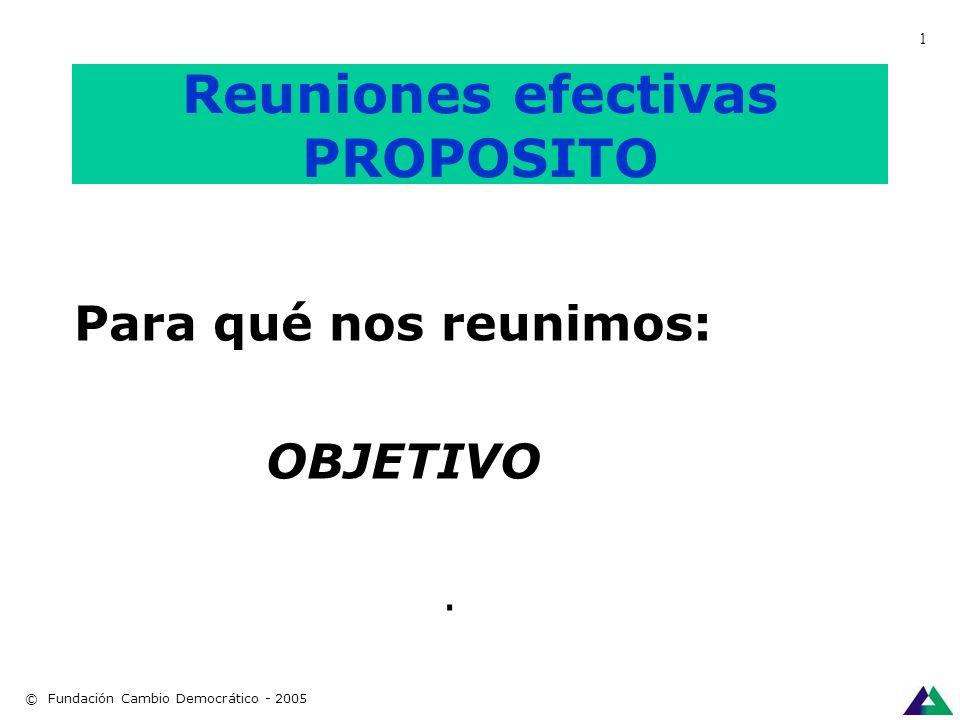 Reuniones Efectivas: PPPP 1.- PROPOSITO 2.- PRODUCTO 3.- PERSONAS 4.- PROCESO. © Fundación Cambio Democrático - 2005 1