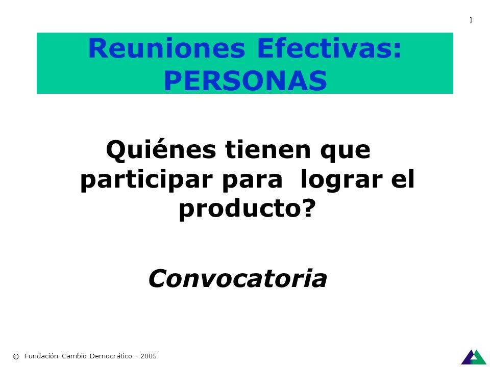 Reuniones Efectivas PRODUCTO Qué necesitamos llevarnos al terminar la reunión?. © Fundación Cambio Democrático - 2005 1