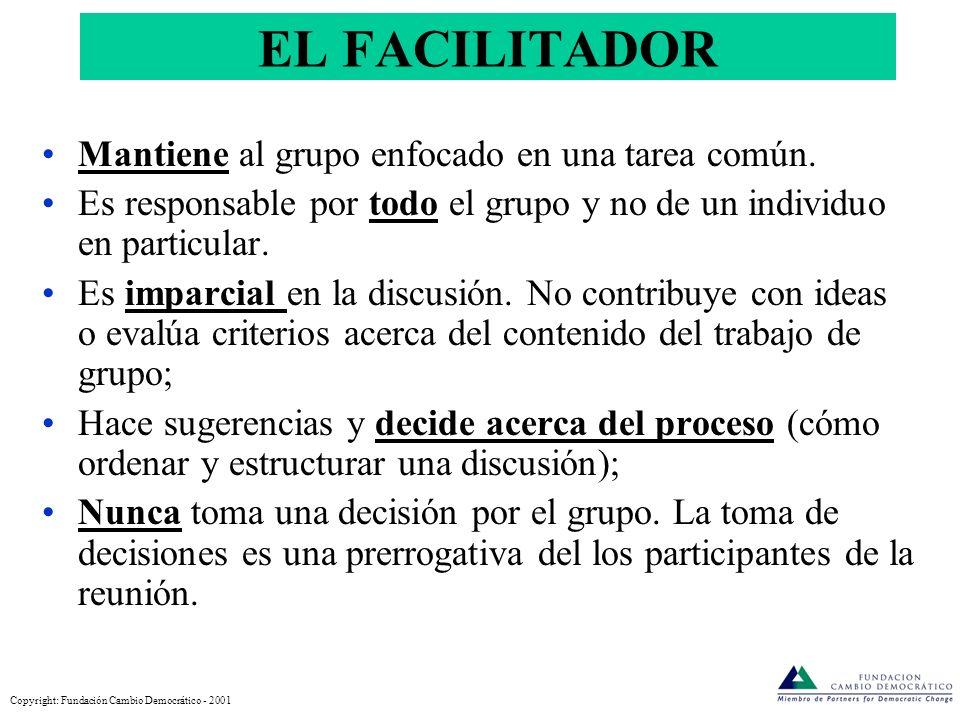 Reuniones efectivas: PROCESO Cómo lograr el Propósito y el Producto: Agenda Reglas Logística © Fundación Cambio Democrático - 2005 1