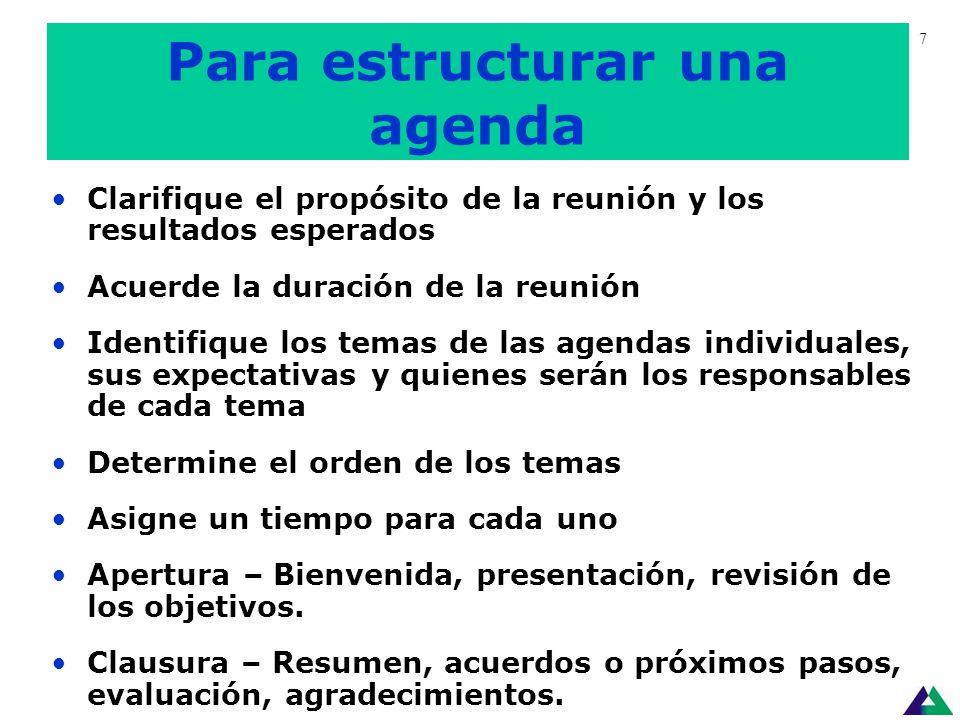 Antes de la Reunión © Fundación Cambio Democrático - 2005 6 Defina el objetivo o propósito Especifique posibles resultados de la reunión Diseñe una ag