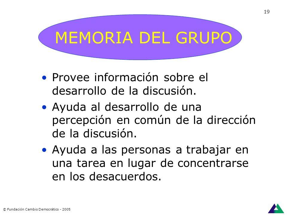 REGISTRADOR MEMORIA DEL GRUPO Es la persona que toma nota de los puntos importantes en la discusión sobre un pizarrón o papel a la vista de todos los