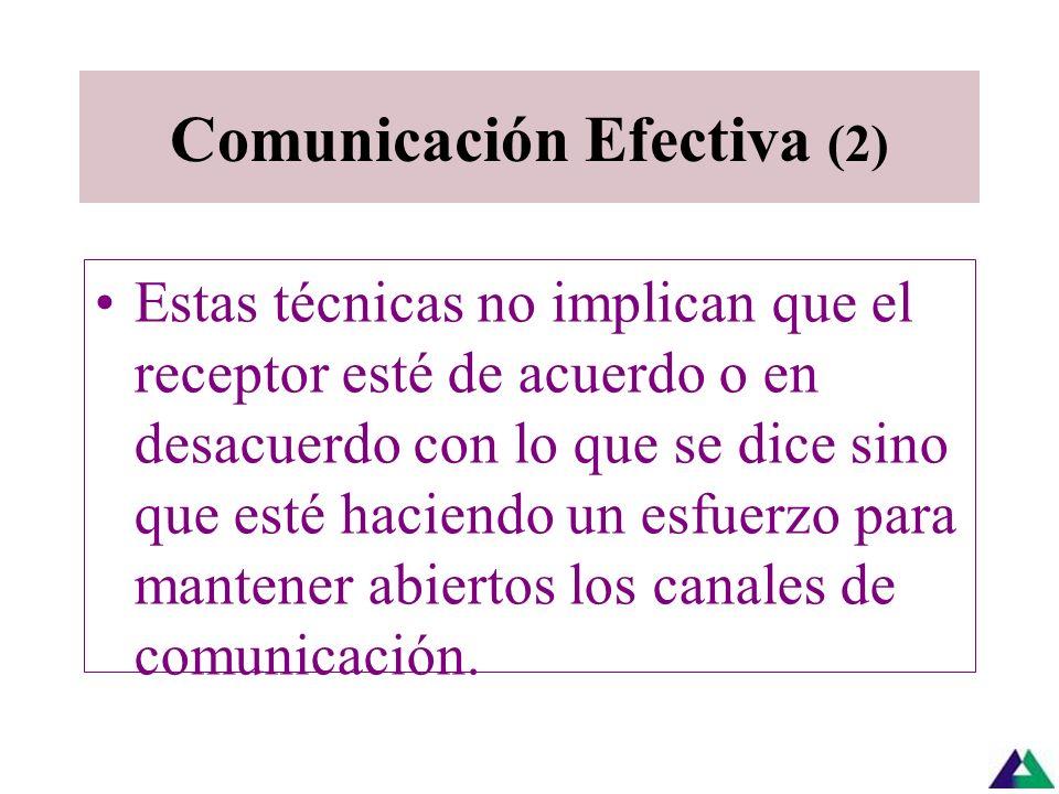 Comunicación Efectiva (1) La escucha activa requiere que el receptor: preste toda su atención y suspenda su reacción ante situaciones que pueden estar