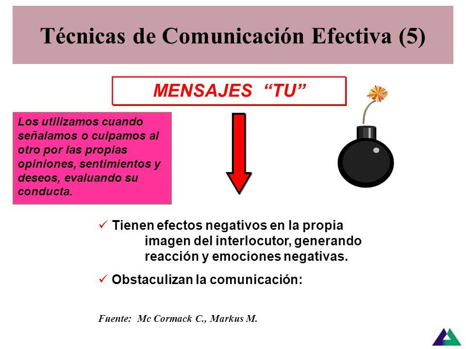 Técnicas de Comunicación Efectiva (4) TécnicaFunciónAcciónEjemplos Legitimar Reconocer el valor del otro Hacer saber al otro que es valorado Reconocer