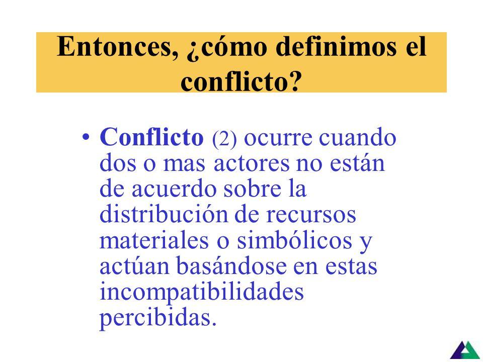 Entonces, ¿cómo definimos el conflicto? Conflicto (1) es la energía que se crea cuando individuos o grupos interdependientes buscan satisfacer interes