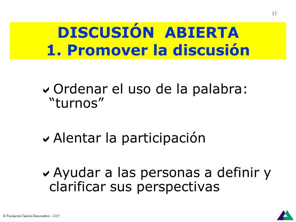 TECNICAS DE FACILTACIÓN PARA REUNIONES ABIERTAS Para promover la discusión Para canalizar la discusión Para cerrar la discusión © Fundación Cambio Dem