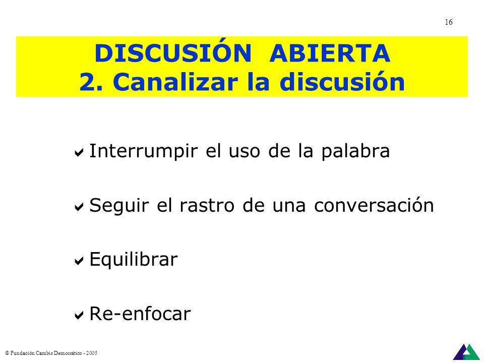 DISCUSIÓN ABIERTA 1. Promover la discusión Ordenar el uso de la palabra: turnos Alentar la participación Ayudar a las personas a definir y clarificar