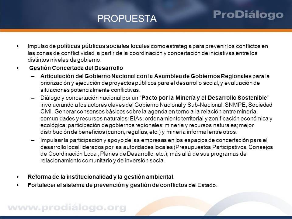 PROPUESTA Impulso de políticas públicas sociales locales como estrategia para prevenir los conflictos en las zonas de conflictividad, a partir de la c