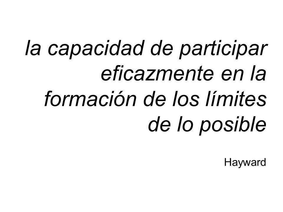 la capacidad de participar eficazmente en la formación de los límites de lo posible Hayward