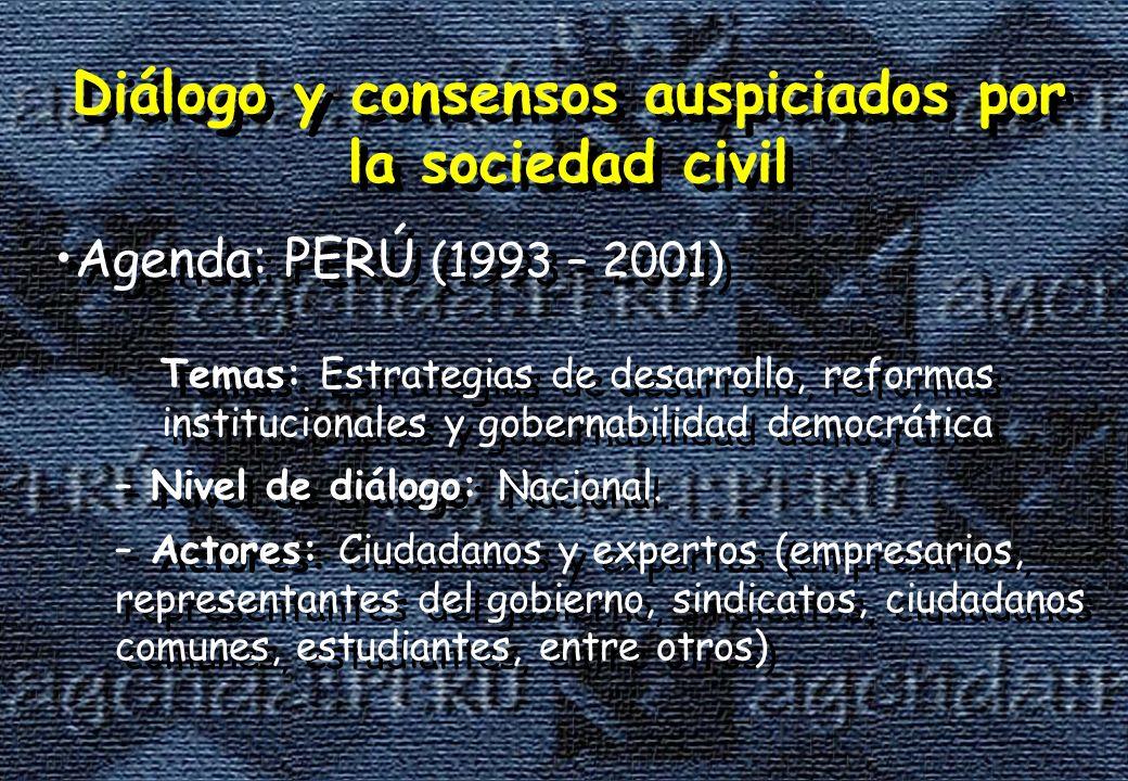 Diálogo y consensos auspiciados por la sociedad civil Agenda: PERÚ (1993 – 2001) Diálogo y consensos auspiciados por la sociedad civil Agenda: PERÚ (1993 – 2001) Temas: Estrategias de desarrollo, reformas institucionales y gobernabilidad democrática – Nivel de diálogo: Nacional.