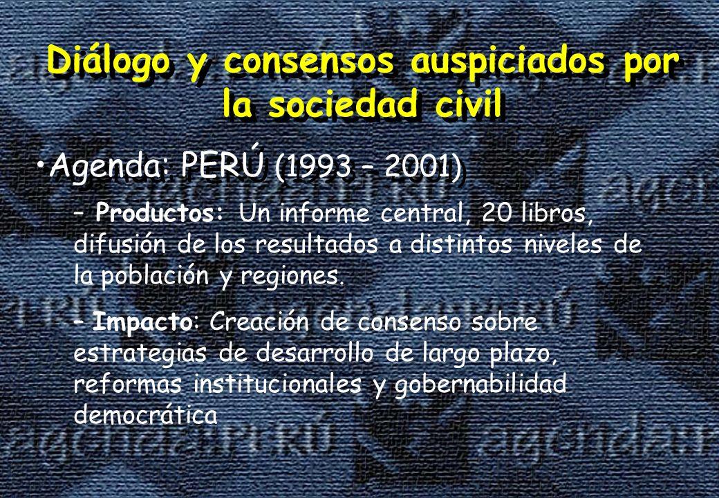 Diálogo y consensos auspiciados por la sociedad civil Agenda: PERÚ (1993 – 2001) Diálogo y consensos auspiciados por la sociedad civil Agenda: PERÚ (1993 – 2001) – Productos: Un informe central, 20 libros, difusión de los resultados a distintos niveles de la población y regiones.
