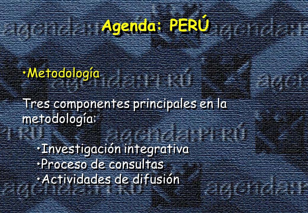 Agenda: PERÚ Metodología Tres componentes principales en la metodología: Investigación integrativa Proceso de consultas Actividades de difusión Metodología Tres componentes principales en la metodología: Investigación integrativa Proceso de consultas Actividades de difusión