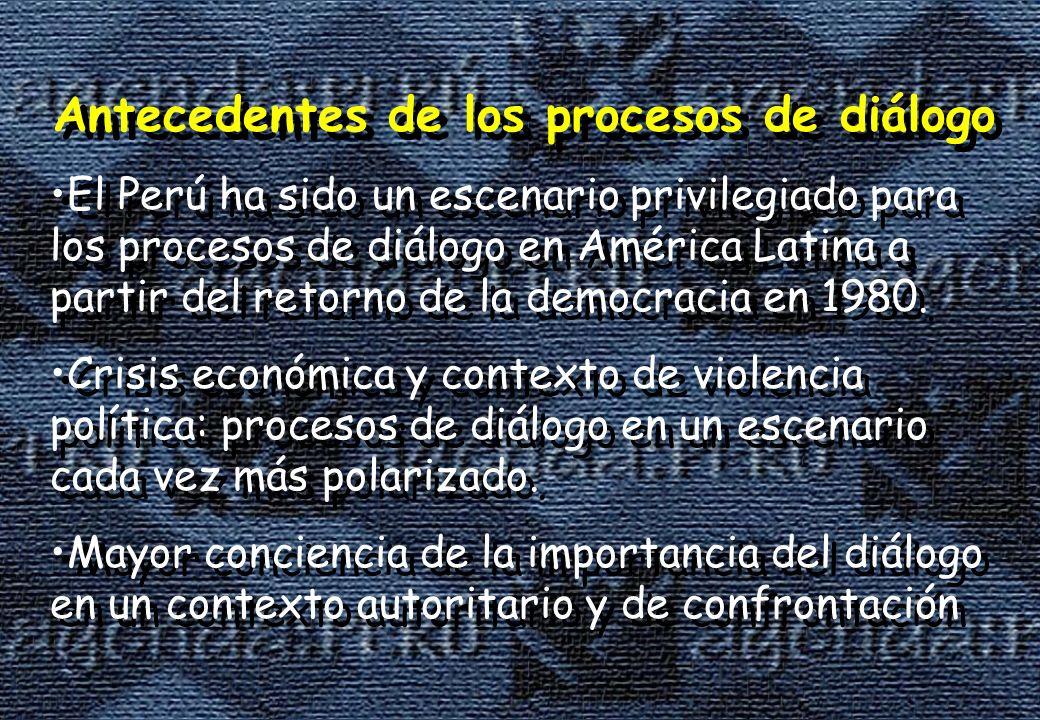 Antecedentes de los procesos de diálogo El Perú ha sido un escenario privilegiado para los procesos de diálogo en América Latina a partir del retorno de la democracia en 1980.