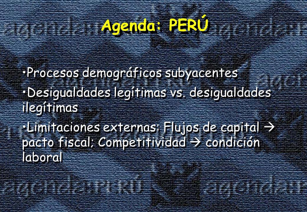 Agenda: PERÚ Procesos demográficos subyacentes Desigualdades legítimas vs.