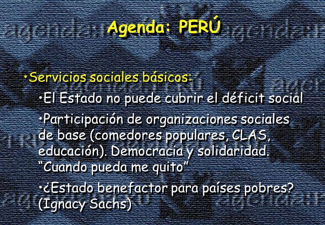 Agenda: PERÚ Servicios sociales básicos: El Estado no puede cubrir el déficit social Participación de organizaciones sociales de base (comedores populares, CLAS, educación).