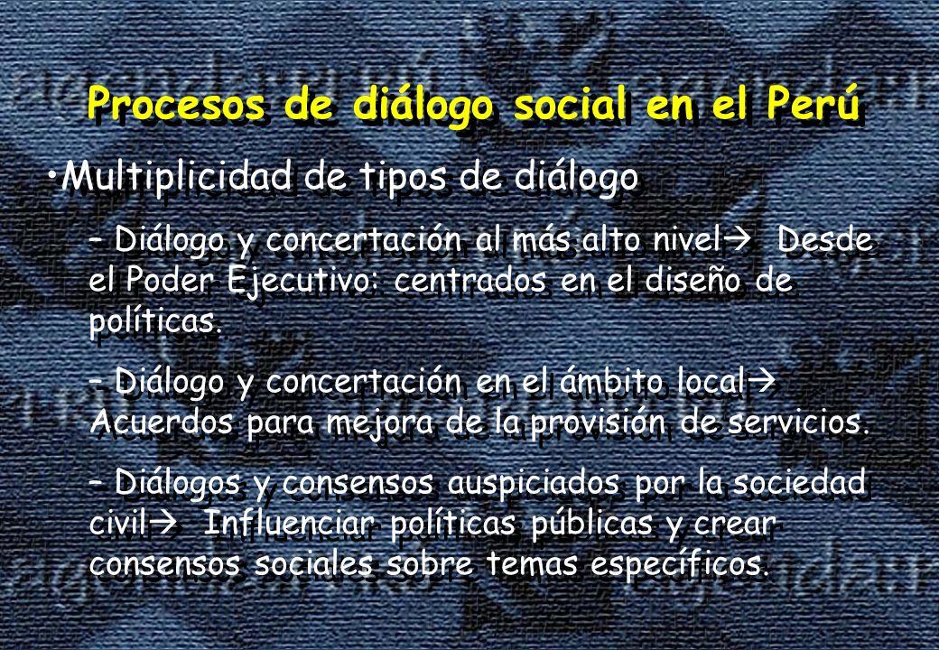 Procesos de diálogo social en el Perú Multiplicidad de tipos de diálogo – Diálogo y concertación al más alto nivel Desde el Poder Ejecutivo: centrados en el diseño de políticas.