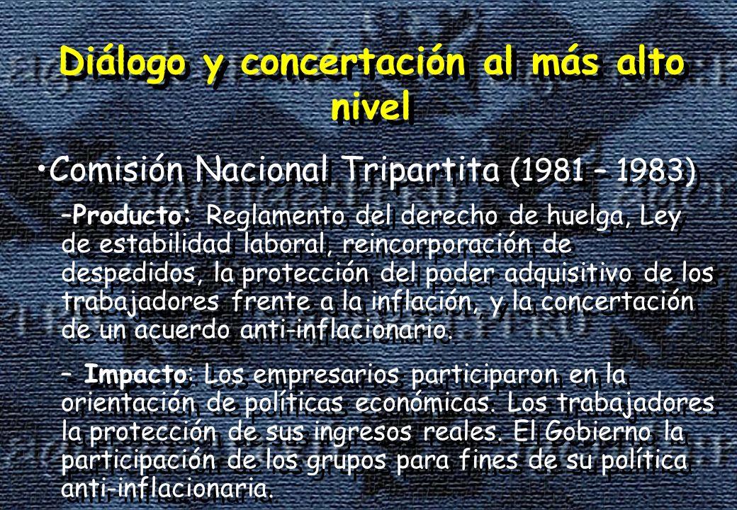 –Producto: Reglamento del derecho de huelga, Ley de estabilidad laboral, reincorporación de despedidos, la protección del poder adquisitivo de los trabajadores frente a la inflación, y la concertación de un acuerdo anti-inflacionario.
