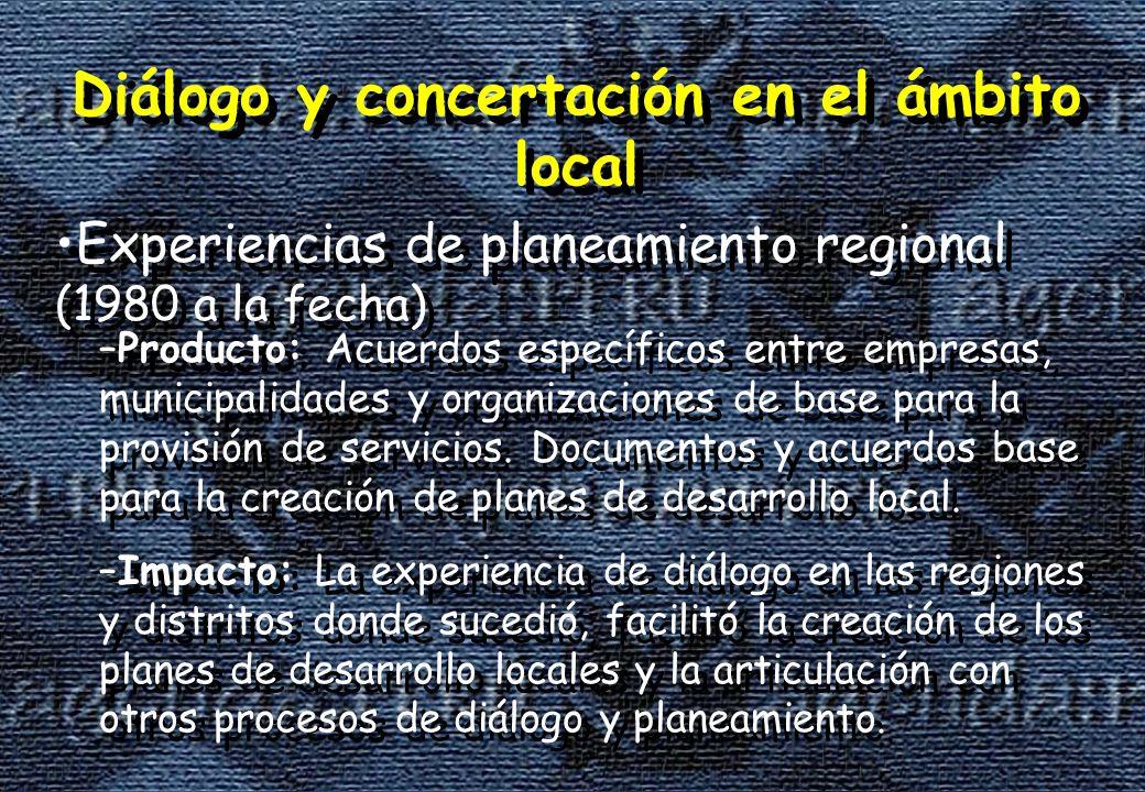 Diálogo y concertación en el ámbito local Experiencias de planeamiento regional (1980 a la fecha) Diálogo y concertación en el ámbito local Experiencias de planeamiento regional (1980 a la fecha) –Producto: Acuerdos específicos entre empresas, municipalidades y organizaciones de base para la provisión de servicios.
