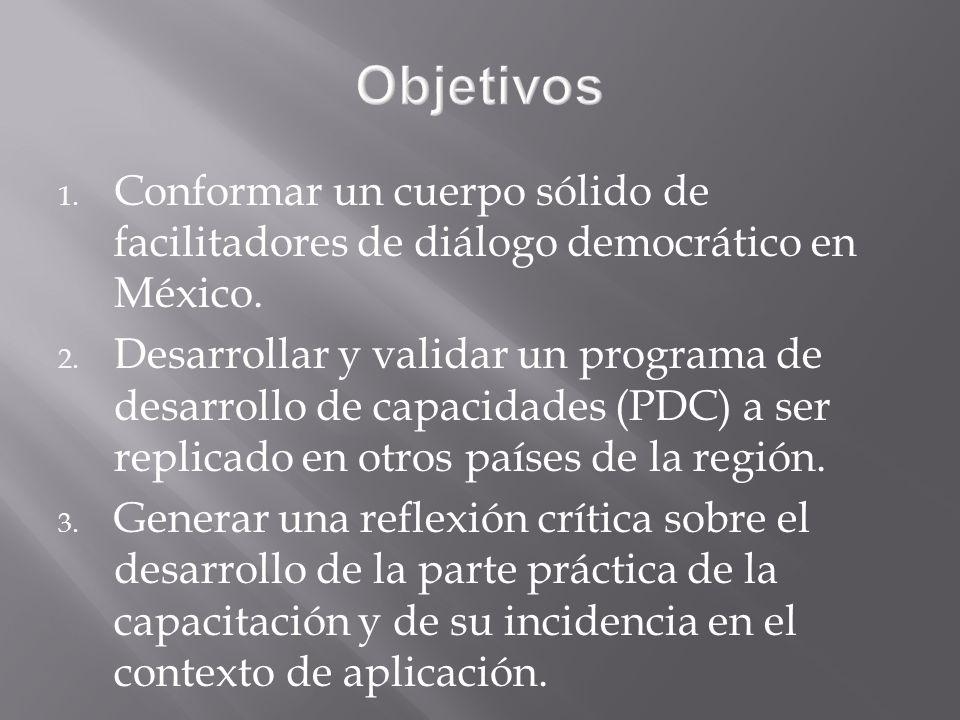 1. Conformar un cuerpo sólido de facilitadores de diálogo democrático en México.