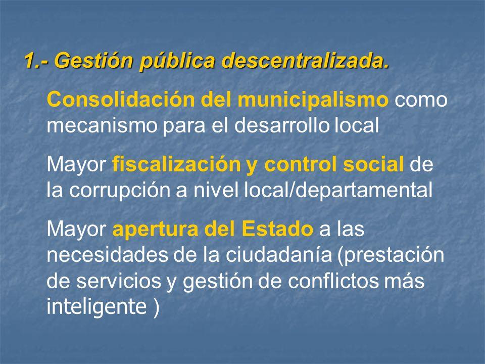 1.- Gestión pública descentralizada. Consolidación del municipalismo como mecanismo para el desarrollo local Mayor fiscalización y control social de l