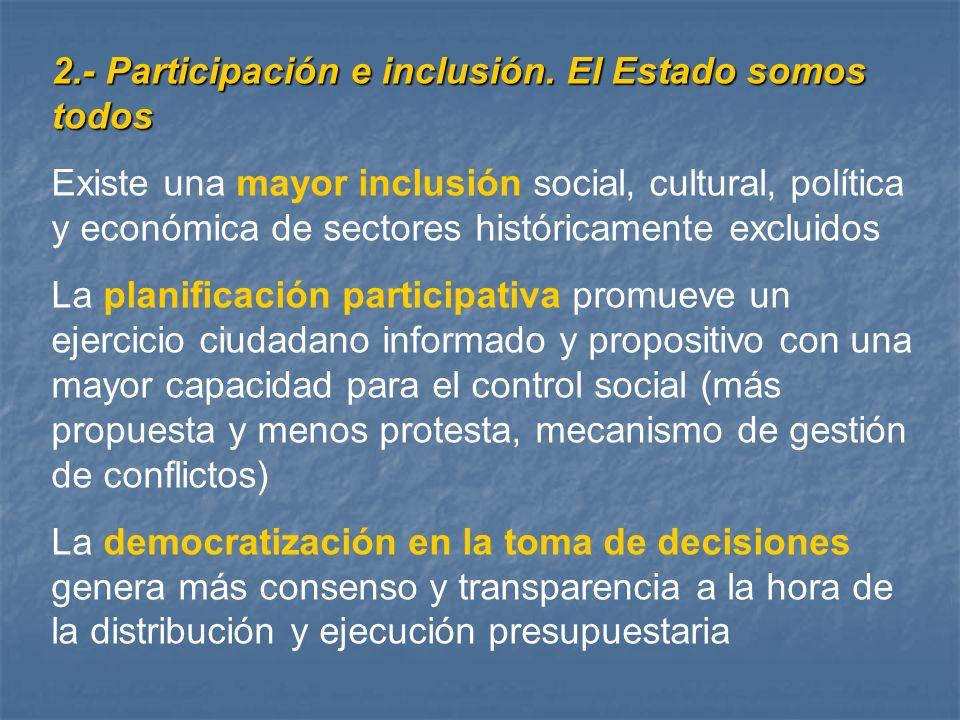 2.- Participación e inclusión. El Estado somos todos Existe una mayor inclusión social, cultural, política y económica de sectores históricamente excl