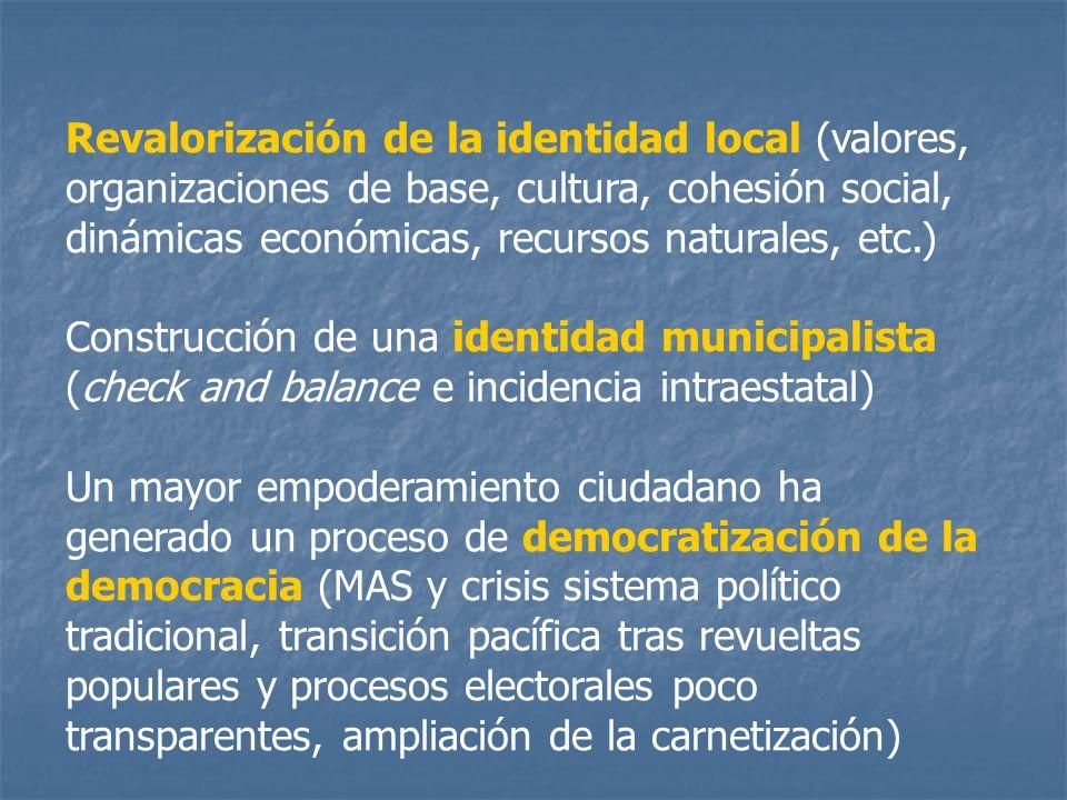 Revalorización de la identidad local (valores, organizaciones de base, cultura, cohesión social, dinámicas económicas, recursos naturales, etc.) Const