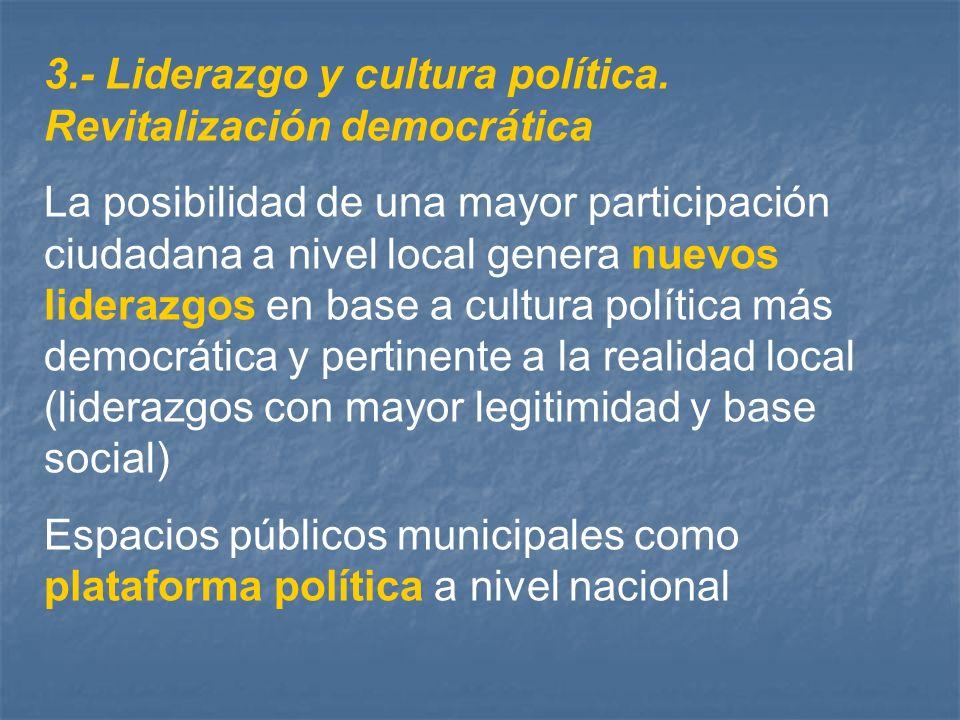 3.- Liderazgo y cultura política. Revitalización democrática La posibilidad de una mayor participación ciudadana a nivel local genera nuevos liderazgo