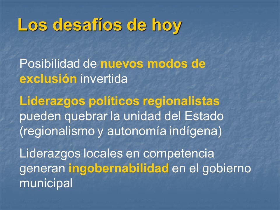 Los desafíos de hoy Posibilidad de nuevos modos de exclusión invertida Liderazgos políticos regionalistas pueden quebrar la unidad del Estado (regiona