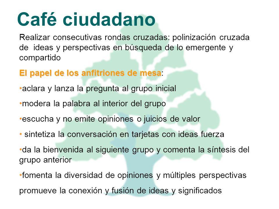 Café ciudadano Realizar consecutivas rondas cruzadas: polinización cruzada de ideas y perspectivas en búsqueda de lo emergente y compartido El papel d