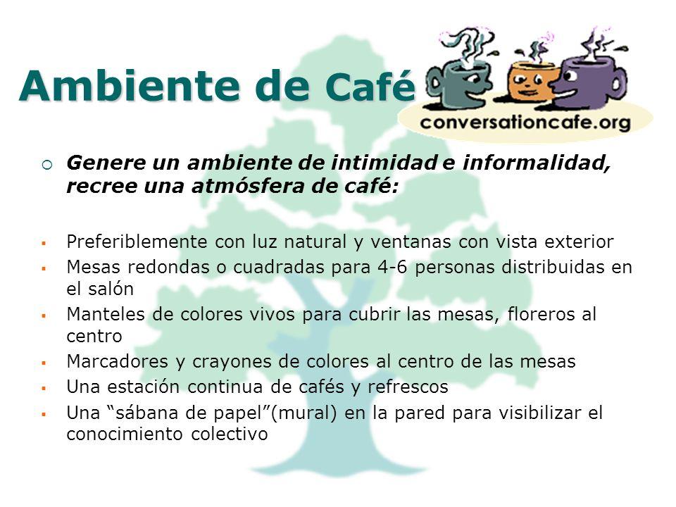 Ambiente de Café Genere un ambiente de intimidad e informalidad, recree una atmósfera de café: Preferiblemente con luz natural y ventanas con vista ex