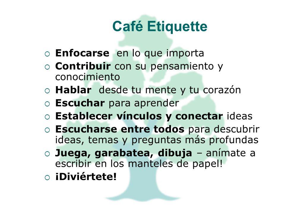 Café Etiquette Enfocarse en lo que importa Contribuir con su pensamiento y conocimiento Hablar desde tu mente y tu corazón Escuchar para aprender Esta