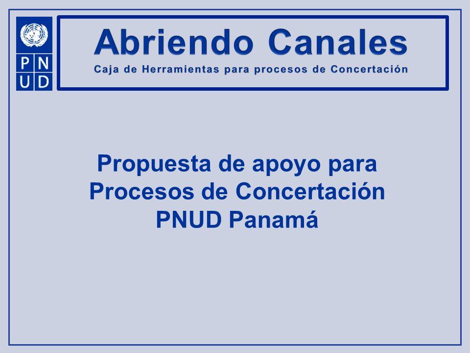 Aportes del PNUD Panamá Creando Capacidade s Construyendo Acuerdos Construyendo Acuerdos Honrando la Palabra Apoyar en la redacción de un Acuerdo de Entendimiento Misión de Orientació n Taller de Sistematizació n Recomendar a cerca del diseño y dimensiones del Equipo de Trabajo Aportar orientación en la Organización de la Logística