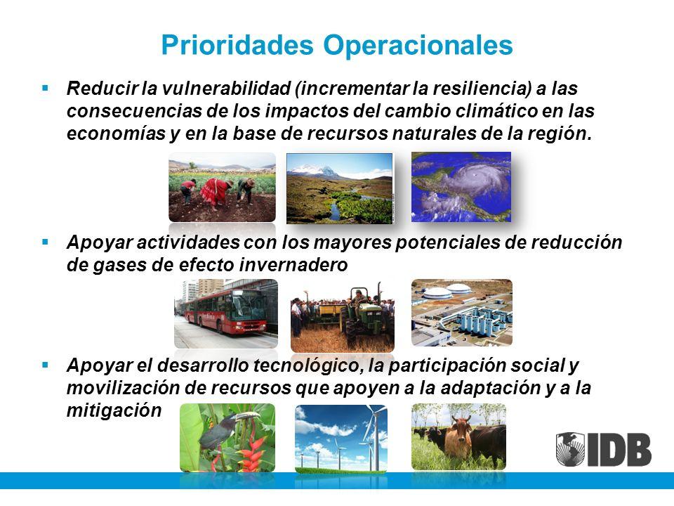 Prioridades Operacionales Reducir la vulnerabilidad (incrementar la resiliencia) a las consecuencias de los impactos del cambio climático en las econo