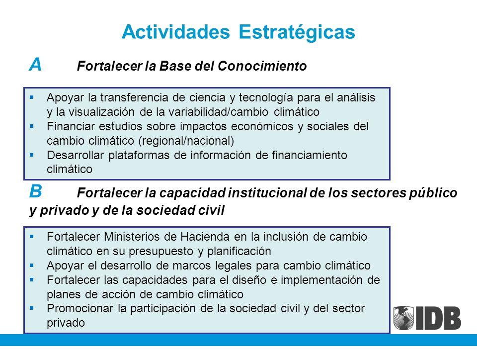 Actividades Estratégicas A Fortalecer la Base del Conocimiento B Fortalecer la capacidad institucional de los sectores público y privado y de la socie