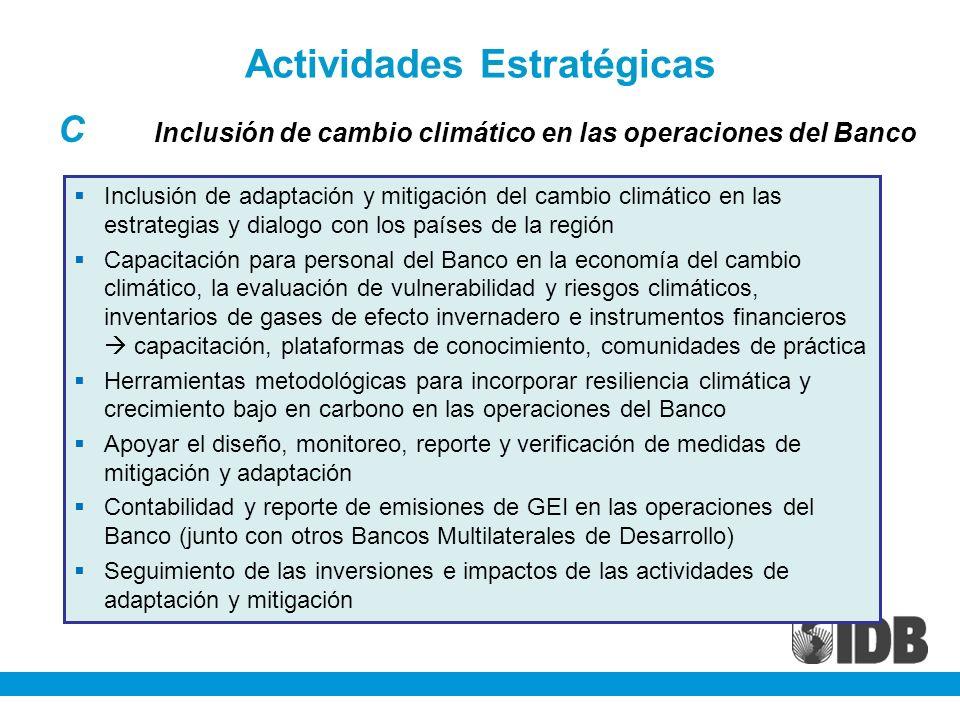 Actividades Estratégicas D Expansión de préstamos y asistencia técnica Uso de recursos rápidos (fast start) en la región Utilización de recursos del Fondo de Adaptación en la región Promocionar el uso de recursos REDD, FIP y FCPF Desarrollar mecanismos de financiamiento innovadores para atraer inversiones del sector privado Apoyar reformas de política e innovación (México, Perú, Colombia, Guatemala, Trinidad y Tobago y El Salvador) Expansión de inversiones climáticas en sectores claves Movilización de fondos GEF en soporte de programas de cambio climático E Escalamiento de inversiones y apalancamiento de fondos del sector privado