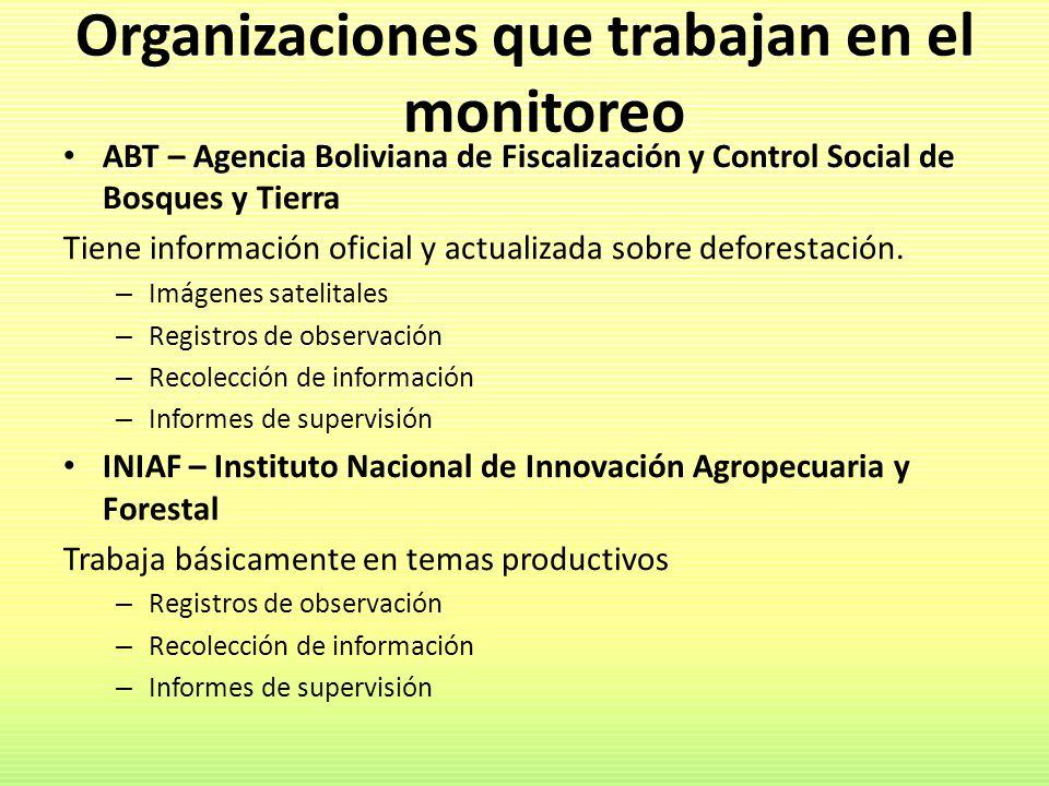 Organizaciones que trabajan en el monitoreo ABT – Agencia Boliviana de Fiscalización y Control Social de Bosques y Tierra Tiene información oficial y
