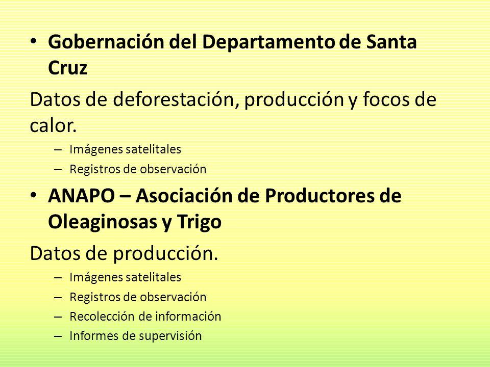 Gobernación del Departamento de Santa Cruz Datos de deforestación, producción y focos de calor. – Imágenes satelitales – Registros de observación ANAP
