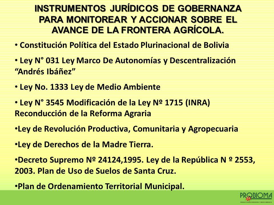 INSTRUMENTOS JURÍDICOS DE GOBERNANZA PARA MONITOREAR Y ACCIONAR SOBRE EL AVANCE DE LA FRONTERA AGRÍCOLA. Constitución Política del Estado Plurinaciona