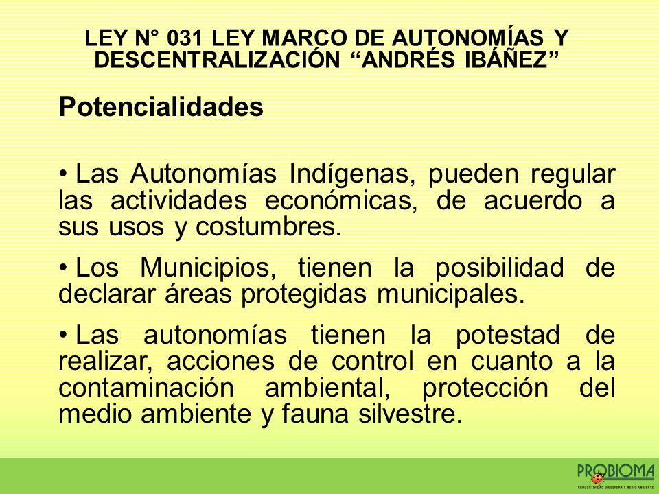 Potencialidades Las Autonomías Indígenas, pueden regular las actividades económicas, de acuerdo a sus usos y costumbres. Los Municipios, tienen la pos