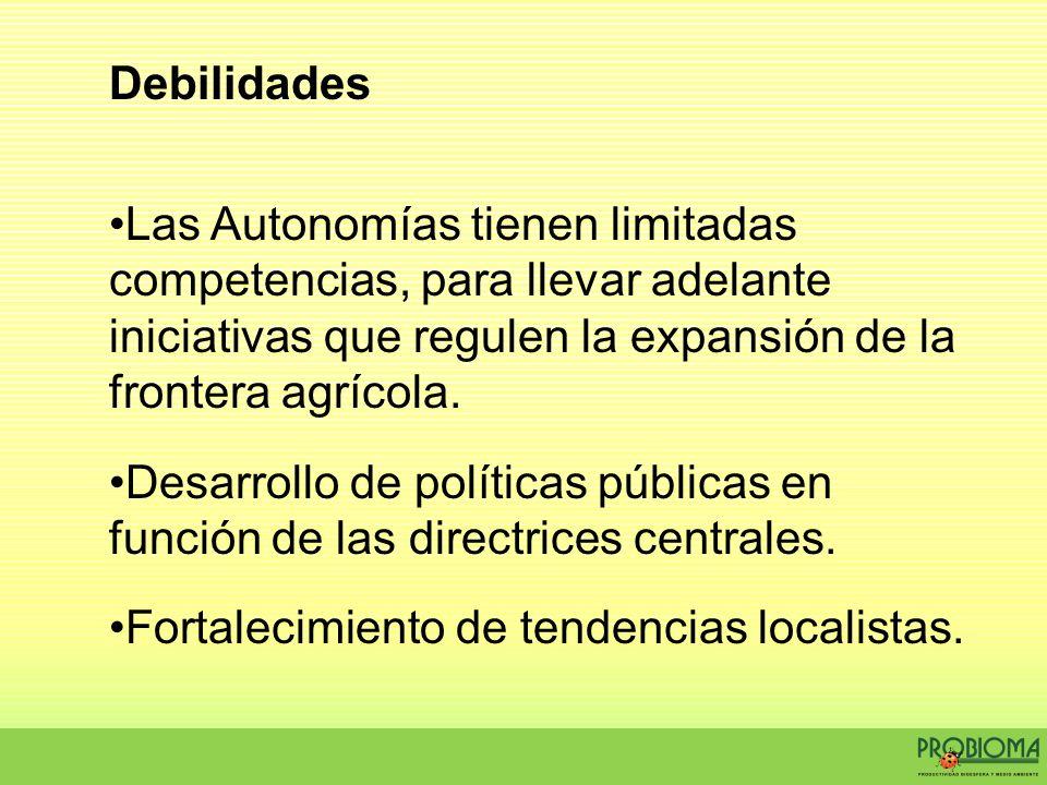 Debilidades Las Autonomías tienen limitadas competencias, para llevar adelante iniciativas que regulen la expansión de la frontera agrícola. Desarroll